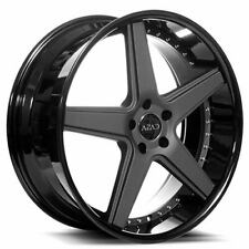 "4ea 22"" Staggered Azad Wheels AZ008 Matte Black with Black Lip Rims(S2)"
