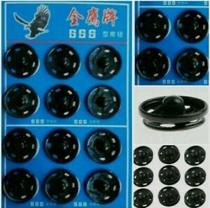 Large 12Pcs 20mm Black Press Stud  Metal Studs Snap Fastener Sewing Titch Button