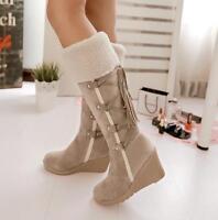 Women's Winter Warm Wedge Hidden Heel Fur Trim Mid Calf Boots Faux Suede Shoes