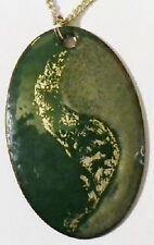 pendentif chaine bijou vintage ovale en émaux vert dégradé couleur argent * 5104