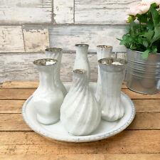 S/7 White Mercury Glass Home Decorative Flower Wedding Table Ensemble Vase Set