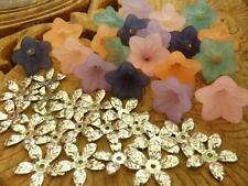 Acrylic Bell Flower Beads with matching Antique Silver Leaf Bead Caps 40 pieces