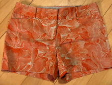 Women's The Limited Drew Fit Size 12 Shorts Orange And Tan Flower Low Rise Waist