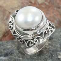 Beautiful White Pearl Gemstone Ring 925 Sterling Silver Gift Jewelry