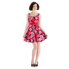 Women's Pink & Red Floral Pattern 50's Rockabilly Swing Summer Mini Dress