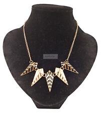 Gold Tribal Geometric White Black Kite Prism Necklace