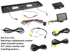 "NUMBER PLATE SURROUND MOUNTED CAMERA WITH 4.3"" COLOUR MONITOR 2 PARKING SENSORS"