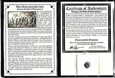 First Jewish Coin,Bronze Prutah of Hyrcanus I with Story, Certificate and Album