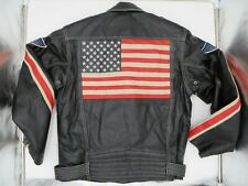 Michael Hoban USA Flag Easy Rider Motorcycle Leather Jacket Men's Size M