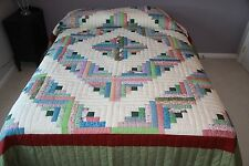 "New Amish Quilt Handmade Patchwork from Lancaster Pa.  ""Log  Cabin""  97x109"