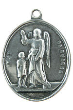 GUARDIAN ANGEL / ST. JOSEPH Medal, silver, cast from antique Portuguese original