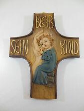 """Kinderkreuz """"Bleib sein Kind"""" blau ca.12,5  x 10 cm Baby Taufe Junge, Wandkreuz"""
