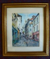 Vintage Watercolour Painting Expressionist Paris French Street Church scene 50s