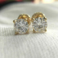 2 Ctw Round Cut Diamond 14K Yellow Gold Over Screw Back Solitaire Stud Earrings