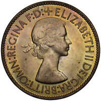 1953 PENNY - ELIZABETH II BRITISH BRONZE COIN - SUPERB