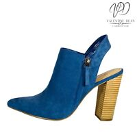 JustFab Women's Ankle Boots Katherine Blue Suedette Block Heels Size 5 Uk
