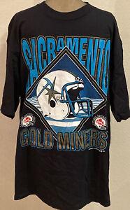 RARE! 90's Vintage Sacramento Gold Miners T SHIRT CFL Football Size XL