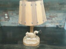 VINTAGE CLEMENT DUBE WOOD CARVED SQUIRREL LAMP-RUSTIC COTTAGE DECOR-1940