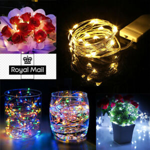 20 LED Battery Micro Rice Wire Copper Fairy String Lights Wedding Party White UK