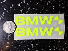 2x BMW fluorescent Yellow SAFETY day time visibility Motorcycle Helmet Stickers