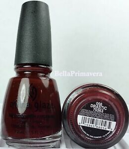 China Glaze Nail Polish Drastic 056 Deep Red Jelly Creme Long Wear Lacquer