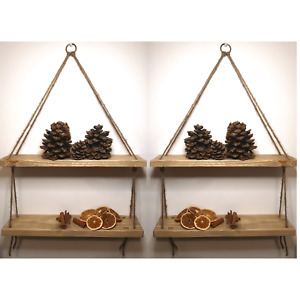 Handmade Wooden Rope Shelves Floating Hanging Shelf NATURAL OAK shade 2 Tier