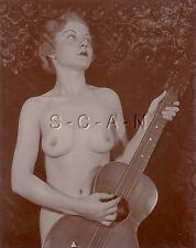 Original Vintage Sepia 30s-40s Nude RP- Blond Woman Plays Guitar Indoors- Music