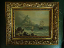 Tableau ancien  Marine  Grand Voilier  Château  Côte Rocheuse  MA Lévêque ?