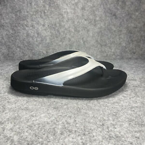 EUC Oofos OOlala Luxe Walking Recovery Thong Sandals - Graphite White Women
