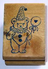 Teddy Bear Rubber Stamp Balloon Party Hat Ruffle Collar Vintage Birthday
