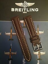 Genuine Leather 20mm Heavy Padded Watch Strap For Breitling Watches Brown