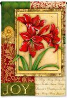 "CHRISTMAS JOY Amaryllis Tapestry 12.5""x18"" Holiday Small Decorative Banner Flag"