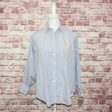 TURNBULL & ASSER Women's Button up Shirt Striped Cotton Sz Small