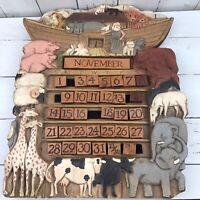 Vintage Handmade Noah's Ark Calendar Al Pisano Carved Hand Painted Unique OOAK