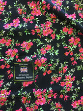 Black & Pink Ditsy Summer Floral 100% Viscose Summer Printed Dress Fabric.