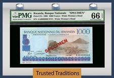 """TT PK 27s 1998 RWANDA 1000 FRANCS """"SPECIMEN"""" PMG 66 EPQ GEM UNC ONLY TWO FINER"""