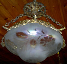 Antique Gilt French Irridescent Glass Ceiling Light Cut Satin Etched Shade 1910