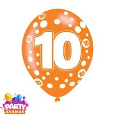 6pk Age 10 Assorted Colours Latex Balloons Birthday Party Decorations