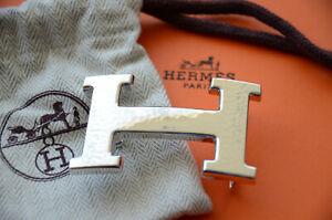 Authentic 32mm Hermès belt buckle Silver Martelee H Hammered