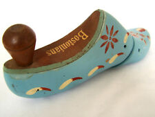 "Antique Wooden Shoe Cobbler Form Decorative ""Bostonians"" Blue Floral Painted"