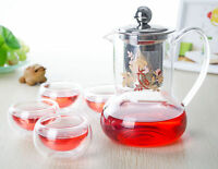 Heat Resistant Glass Tea Set-500ml Teapot & Stainless steel Strainer+4x35ml Cups