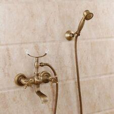 Bathroom Wall Mounted Antique Brass Clawfoot Bathtub Filler Faucet W/Hand Shower