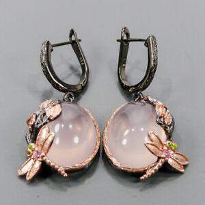 Handmade Rose Quartz Earrings Silver 925 Sterling   /E57395