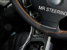 FITS 10-13 VW TOUAREG MK2 TRUE LEATHER STEERING WHEEL COVER ORANGE DOUBLE STITCH