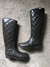 Hunter Womens Regent Savoy Quilted Bitter Chocolate Brown Rain Tall Boots Size 7