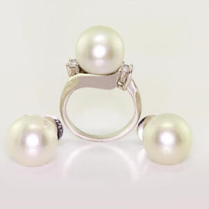 Vintage Estate Earrings Pearl Cubic Zirconia 14k Gold Ring