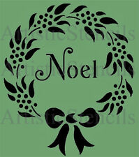 STENCIL Noel Christmas Wreath 10x8.5