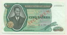 Congo Dem. Rep. 5 Zaires 1971 Pick 14.s aUNC Almost Uncirculated Specimen Ref 3