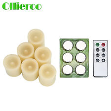 Ollieroo 6 PCS Flameless LED Votive Candles Candle with Remote and Timer Ivory
