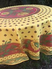 """NEW French Imported Provence Red &Yellow 70""""Round Polyester Tablecloth"""